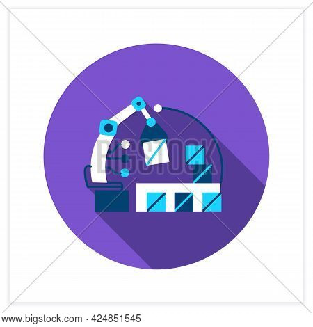 Ai In E-commerce Flat Icon. Robot Handling Order Shipment And Storage.internet Retail Service Automa