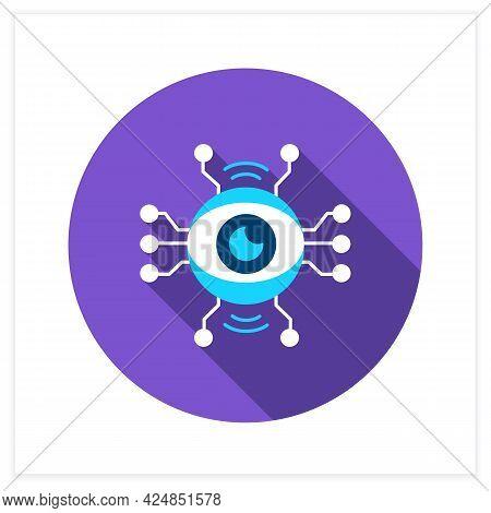 Ai Surveillance Flat Icon. Wireless Eye For Smart Surveillance Technology And Cctv. Web, Ui And Digi