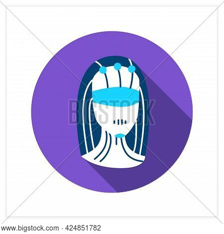 Smart Personal Assistant Flat Icon. Female Robot Head With Data Connection Interface.smart House Tec