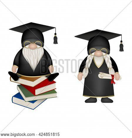 Funny Graduation Gnomes. Male And Female Gnomes With Graduation Hat