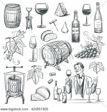 Collection Of Vector Images Of Wine And Winemaking . Isolated Objects On A White Background