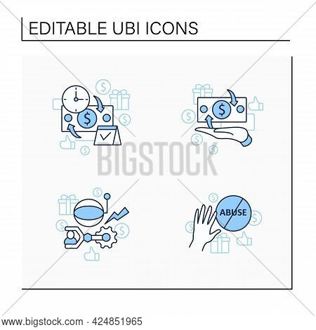 Universal Basic Income Line Icons Set. Technological Unemployment, Ending Abuse, Cash Payment, Perio