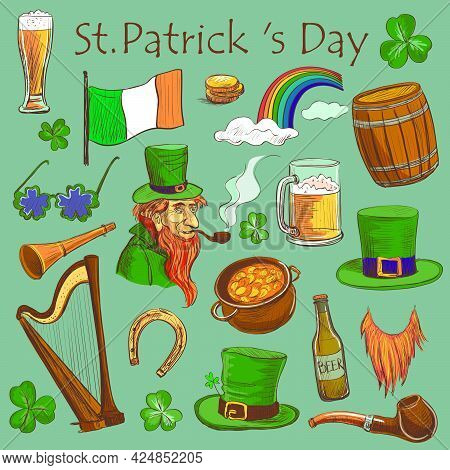 Set Of Colored.drawing Elements To The Holiday Of St. Patrick . Clover , Leprechaun , Beer , Pot. Wi