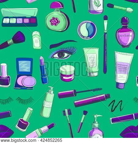 A Collection Of Sketches On Make-up , Cosmetics . Lipstick , Mascara , Powder , Eye Shadow , Brushes