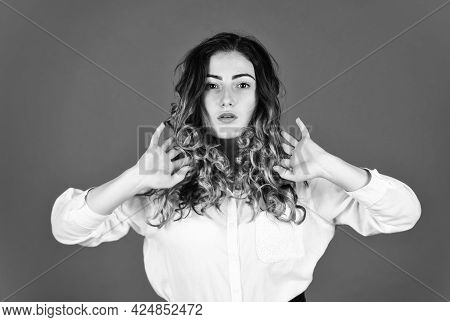 Hairdresser Salon. Perfect Look. Natural Curls. Natural Wavy Hair Texture. Woman With Stylish Curly