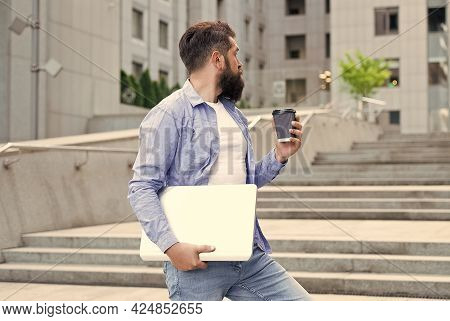 Your Cup Of Morning Inspiration. Bearded Man Drink Coffee Outdoors. Morning Habit. Morning Mood. Bre