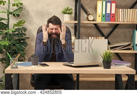 Hysterical Weeping. Hysterical Businessman Weep In Office. Bearded Man Fall Into Hysterics At Workpl