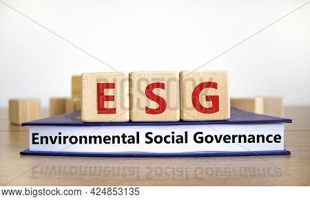 Esg Environmental Social Governance Symbol. Wooden Cubes On Book With Words Esg Environmental Social