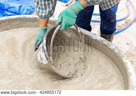 Plastering Equipment, Construction Tools, Concrete Plastering On The Construction Site