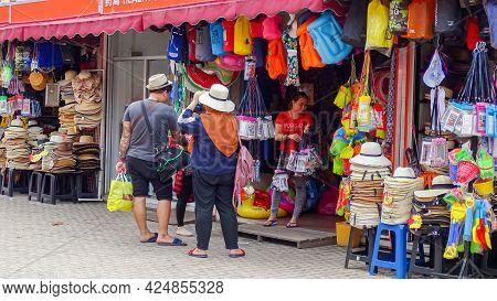Kota Kinabalu,sabah-dec 20,2018:various And Colorful Handcrafts For Sale In Market At Kota Kinabalu,