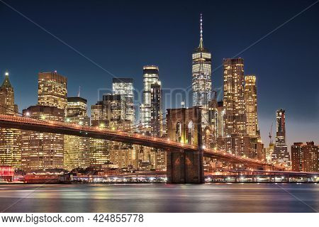 Photo Of The Brooklyn Bridge At The Blue Hour Time
