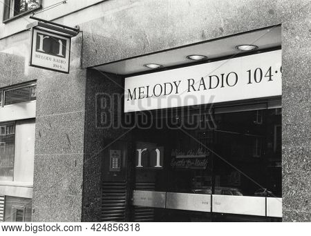 LONDON, ENGLAND - JUNE 27, 1991: Archive scan of Melody Radio in Brompton Road. Launched in 1990 it broadcast until 1998 when it was sold and rebranded as Magic FM.