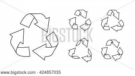 Black Line Triangular Recycling Symbols Set. Icons Environmentally Friendly World. Sign Of Ecologica