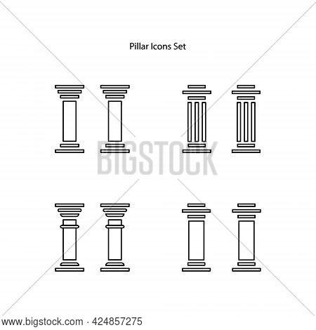 Pillar Icons Set Isolated On White Background. Pillar Icon Trendy And Modern Pillar Symbol For Logo,
