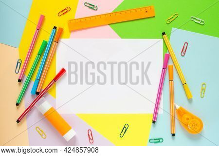 Study Concept Background. Office Stationery On Color Background With Copy Space And Mock Up