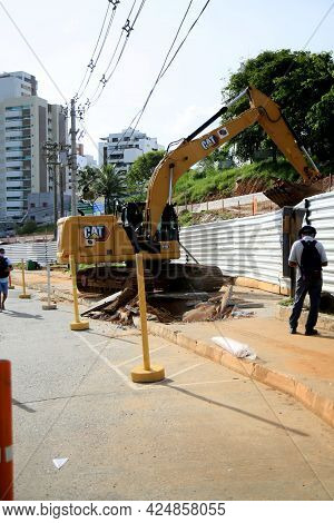 Salvador, Bahia, Brazil - June 10, 2021: Backhoe Machine Is Seen In The Construction Area Of The Exc