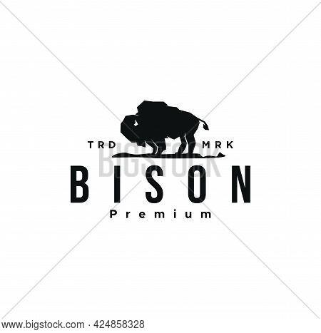 Modern American Black Bison Logo Design Vector Illustration Template. Vintage Retro Buffalo, Cattle,