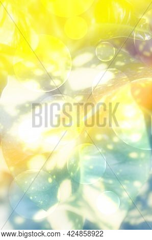Abstract Background Image With Bubble In Yellow And Green Shades Like Dreamlike Picture.