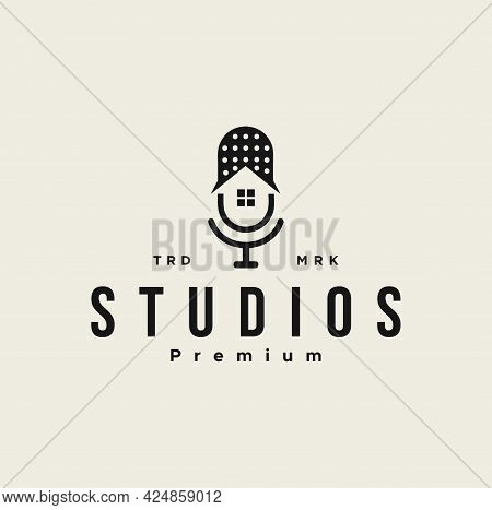 Podcast Mic House Studio Logo Icon Design Illustration. Home And Microphone Logo Icon Design Templat