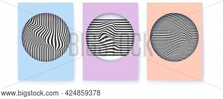 Set Of Posters With Abstract Line Art. Geometric Pattern With Bended Black And White Lines. Vector B