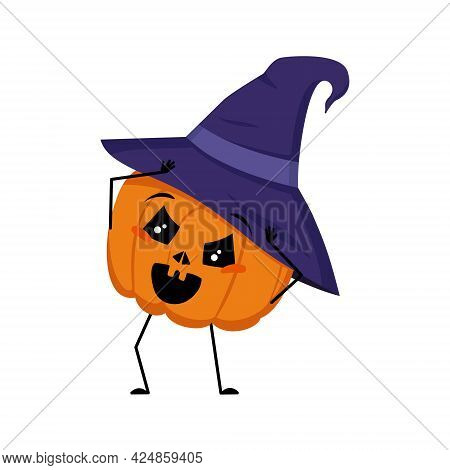 Cute Pumpkin Character In Pointed Hat With Emotions In A Panic Grabs His Head, Face, Arms And Legs.