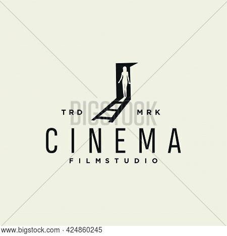 Door With Curvy Girl Logo For Cinema Film Design Vector Illustration Template.