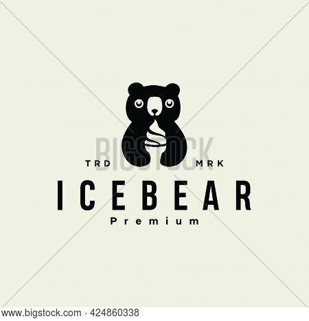 Little Cute Polar Bear Eating Ice Cream Logo Silhouette Design Vector Illustration Black Retro