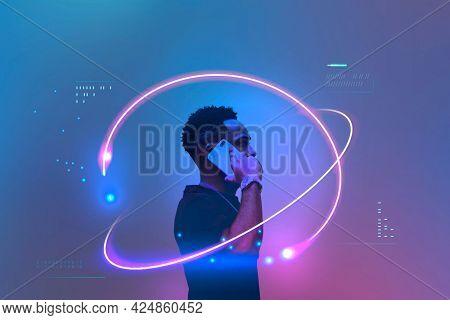 Black man talking on his mobile phone
