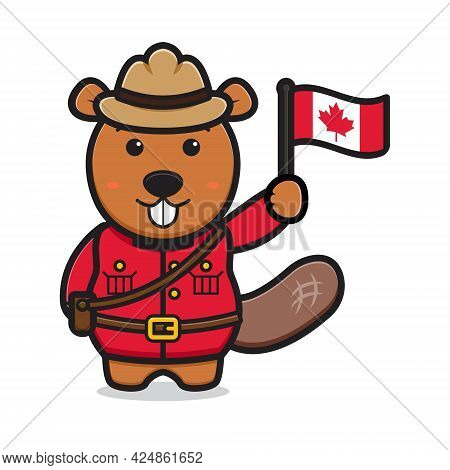 Cute Beaver Character Celebrated Canada Day Cartoon Vector Icon Illustration. Design Isolated On Whi