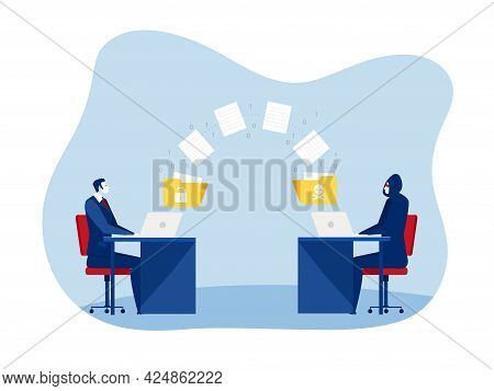 Man Unlock Data With  Hacker Steal Data And Personal Information Concept Vector