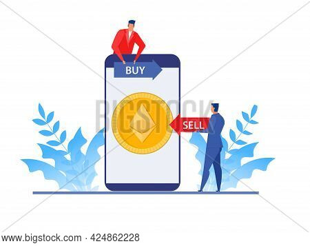 Businessman Analysis Stock Market On Laptop, Buy And Sell Price Ethereum Coin. Flat  Vector Illustra