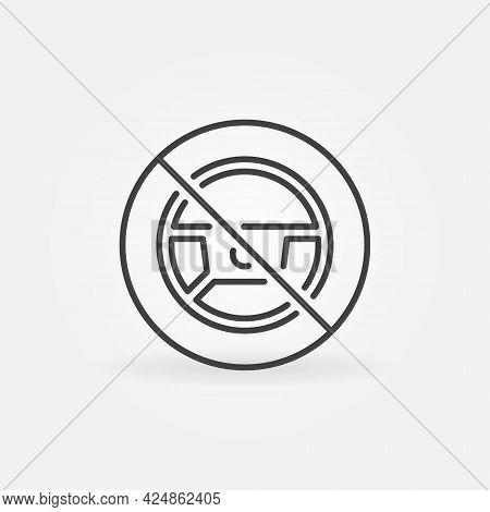 Steering Wheel Forbidding Line Icon - No Autopilot Vector Sign