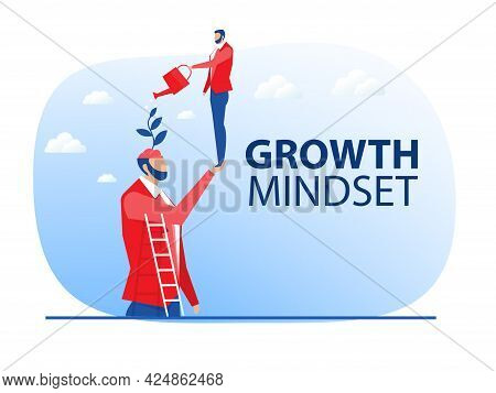 Businessman Water The Plants Brain Himself For Improved Behaves Think For Growth Mindset Concept Vec