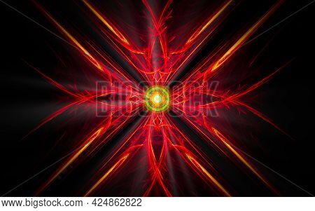 Abstract Illustration Of A Computer Generated Fantastic Flower Of Various Shapes And Shades On A Bla