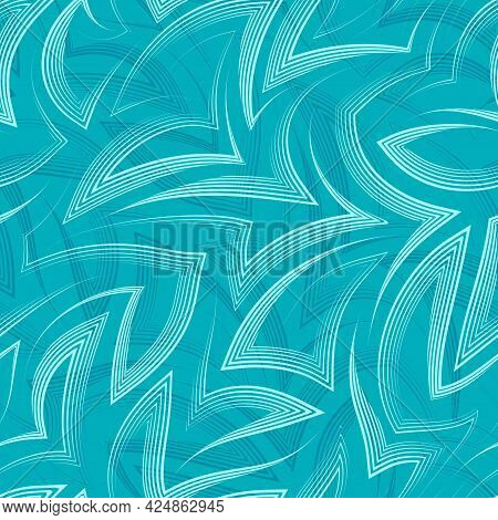 Vector Linear Seamless Pattern Of Zigzags And Corners In Turquoise Background.vector Seamless Geomet