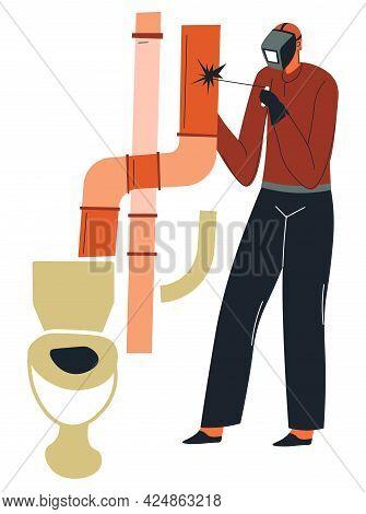 Builder Man Welding Pipe In Bathroom Of House