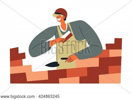 Bricklayer Worker With Cement And Bricks Vector