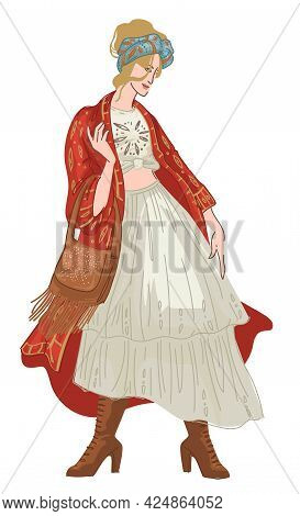 Shabby Chic Or Bohemian Clothes Style Of Woman