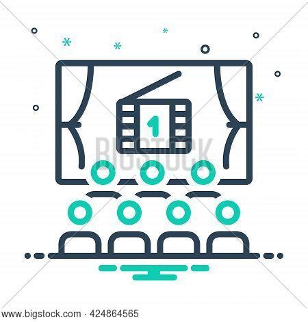 Mix Icon For Cinema Cinematograph Theater Auditorium Audience Entertainment