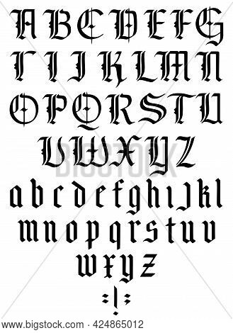 Gothic Alphabet. Medieval Gothic Font With Capitals And Lowercase Caps. Vintage Font. Typography For