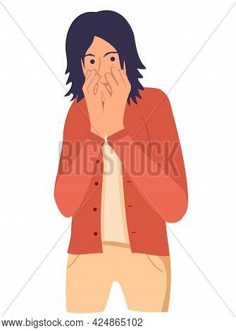 Shocked Young Man Covering His Mouth With Hand. Scared Boy Keeping Fingers On Lips. Human Emotions,