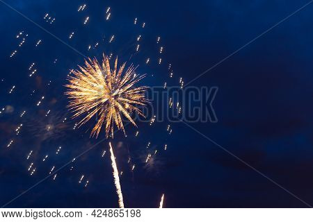 Fireworks In The Night Sky. Independence Day, 4th Of July, Fourth Of July Or New Year