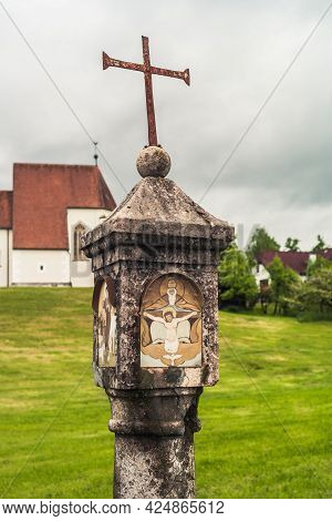 Catholic Wayside Shrine In Eisenreichdornach Near Amstetten, In The Must Quarter Of Lower Austria, A