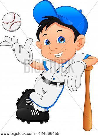 Cute Boy Softball Player Posing On White Background