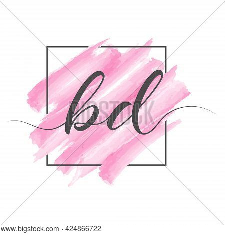 Calligraphic Lowercase Letters Bd In A Single Line On A Colored Background In A Frame. Vector Illust