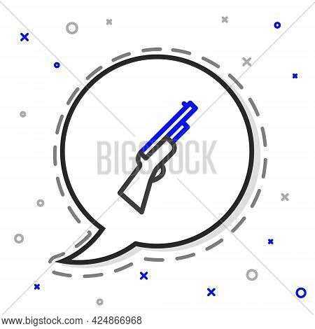 Line Hunting Gun Icon Isolated On White Background. Hunting Shotgun. Colorful Outline Concept. Vecto