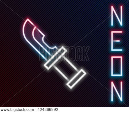 Glowing Neon Line Hunter Knife Icon Isolated On Black Background. Army Knife. Colorful Outline Conce