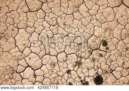 Cracked Dry Soil Ground. Ecology System Crisis, Global Warming Issues Concept. Land Without Water. D