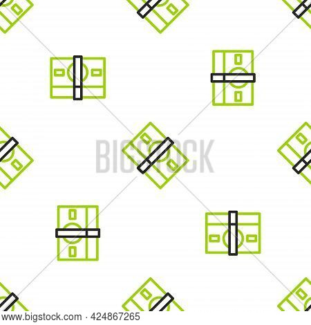 Line Stacks Paper Money Cash Icon Isolated Seamless Pattern On White Background. Money Banknotes Sta