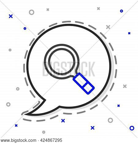 Line Magnifying Glass With Search Icon Isolated On White Background. Detective Is Investigating. Col